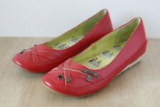 Brand New Womens Kickers Red Leather Wedge Slip On Shoes | Size 5