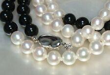 Certificate Takashimaya Akoya white aurora pearl onyx necklace JAPAN 8mm $2500