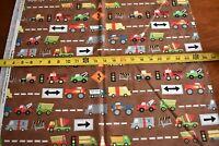 By 1/2 Yd, Colorful Construction Trucks on Brown Cotton, Moda/Jenn Ski, N3217