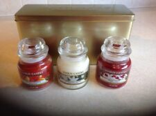 YANKEE CANDLE CHRISTMAS CANDLE GIFT SET X 3 CANDLES BRAND NEW IN GOLD GIFT TIN
