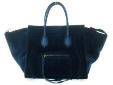 Auth CELINE Luggage Small Square Phantom Blue Suede & Leather Tote Bag