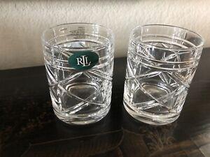 Set of 2 Ralph Lauren Brogan Glasses Tumbler DOF Whiskey 11.3oz New No box