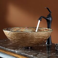 Kraus C-GV-651-12mm-15000ORB Glass Vessel Sink, Ventus Faucet, Oil Rubbed Bronze