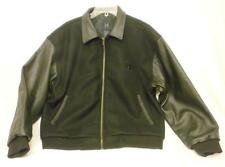 New Honda Black Wool and Leather Men's Medium Logo Lined Jacket