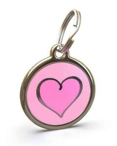 Red Dingo Stainless Steel ID Dog Tag Charm Personalized Engraving HEART PINK