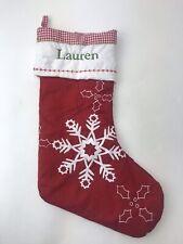 Pottery Barn Kids Red White Velvet Christmas Stocking Lauren Snowflake 20x11