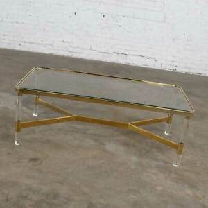 Modern Hollywood Regency Brass Lucite Coffee Cocktail Table Style Karl Springer