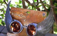 Steampunk argento ALATO Occhiali W/Arancione Lenti camoscio Gotico Cosplay