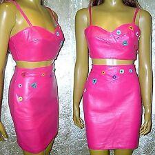 LEDERKOSTÜM P06 Firenze ital. Designer Kostüm Bustier Rock Lammnappa Pink 36 S