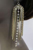 Women Long Gold Metal Chains Dangle Fringes Fashion Earrings Set Hook Rhinestone