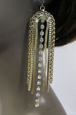 Women Long Gold Metal Chains Dangle Fringes Fashion Earrings Set Hook Rhinestone