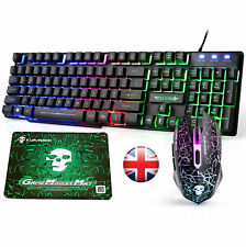 【UK Layout】Wired Rainbow Backlit Usb Gaming Keyboard + Mouse Combo + Mouse Mat