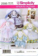 Simplicity 2595 7044 17 inch Rabbit Bunny DOLL Clothes pattern Zanten UNCUT FF