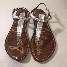 Sam Edelman Gigi Thong Sandals Size Womens 9 US Silver