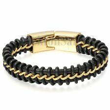 Large Mens Black Braided Leather Bracelet Interwoven with Gold Curb Chain 8.7""
