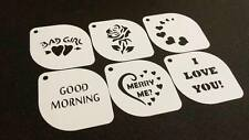 Set of 6 pcs Valentine's Heart Love Rose Text Stencils Love Decoration Card Face
