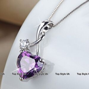 Infinity Amethyst Heart Silver Necklace Christmas Xmas Gifts for Her Women J310