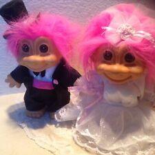 "Vintage Russ TROLLS Groom & Bride with Garter doll set 8"" 18346 18347"