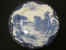 Flow Blue Plate with Asian Scene with Pagoda 7.5 Inches Unmarked