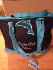 Getagadget Tote Bag - Aqua Blue/Navy - Dolphin-Paradise Island Bahamas
