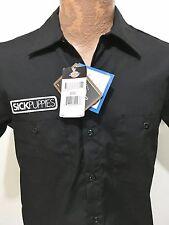 Sick Puppies Mens Medium Reg Crew Short-Sleeve Black Shirt Dickies NEW
