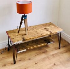 Reclaimed Wood TV Table with Hairpin Legs Scaffolding