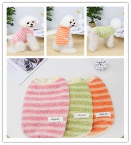 Cute Warm Fleece Dog Vest Jacket Clothes Classic Striped  Puppy Cat Coat Outfits