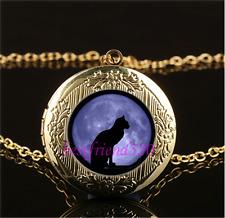 Black Cat Blue Moon Cabochon Glass Gold Plating Locket Pendant Necklace