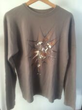 "Cotton Top Brown Rugby Cartoon Long Sleeve T-Shirt Cotton Size m 42"" < T1730"