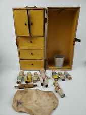 Vintage Miniature Bisque Dollhouse Dolls Ceramic Doll And Case Japan Lot