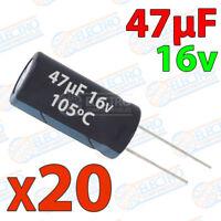 20x Condensador 47uF 16v electrolitico 105ºC 20% 4x8 PCB PIC Arduino