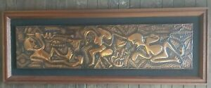 Large Tooled Copper Wall Plaque Mid Century Modern Framed Decorative 1.2m x 43cm