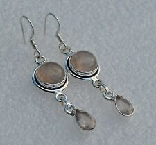 ROSE QUARTZ NATURAL 925 SILVER HOOK EARRINGS WITH GIFT BAG