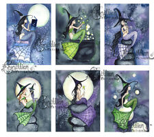 WITCHES 2 MERMAID NOTE CARDS from Original Watercolors by Grimshaw Halloween