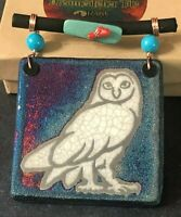 Dreamcatcher Art Tile Owl - Raku Pottery by Jeremy Diller in Original Packaging