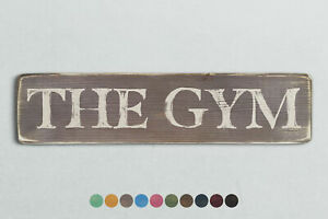 THE GYM Vintage Style Wooden Sign. Shabby Chic Retro Home Gift