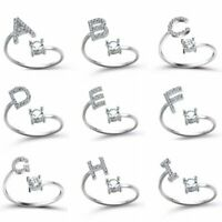 Fashion CZ Adjustable 26 Initial Letter Ring For Women Jewelry Friendship Gift