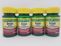 4X Spring Valley Iron 65mg + 325mg Ferrous Sulfate 400 Tablets Total 09/19+