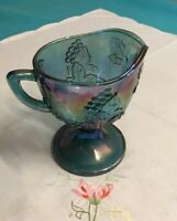 """Vintage Indiana Carnival Glass 5 1/2"""" Tall Blue Footed Creamer """"Grapes"""" Perfect"""