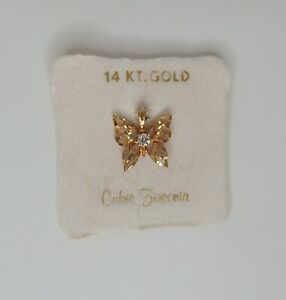 14k Yellow Gold BUTTERFLY w/ Clear CZ, Necklace Pendant Charm NOS New VTG