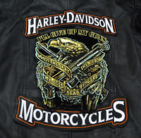 HARLEY 12 INCH TOP BOTTOM ROCKER WITH  EAGLE GUNS 2ND AMENDMENT 3PC BACK PATCH