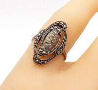 925 Sterling Silver - Vintage Marcasite Decorated Oval Band Ring Sz 6.5 - R14447