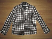 Womens Black/Brown/White LIZ CLAIBORNE Wool Blend Blazer Jacket w/ Pockets LARGE