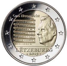 RARE - PIECE DE 2 EUROS COMMEM. LUXEMBOURG - HYMNE NATIONAL - 2013 - NEUVE, UNC