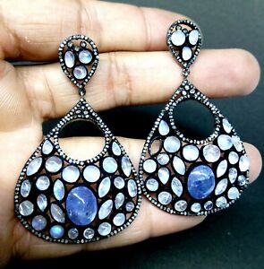 Natural Pave Diamond & Moonstone Gems Sterling Silver Jewelry Tanzanite Earring