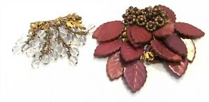 Lot Two Fall Arts and Crafts Costume Pieces Czech Dress Clip Glass Beads