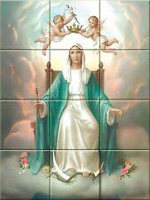 Ceramic Decorative Tile Mural MARY QUEEN of HEAVEN 12.75 X 17 inches