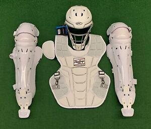 Rawlings Mach Adult 16+ Baseball Catchers Gear Set High School - All White