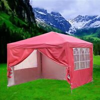 Pop Up 10/'X10/' Outdoor Canopy Party Wedding Tent Pink Patio Gazebo w//4 Side Wall