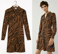 Warehouse NEW Animal Tiger Print Long Sleeve Mini Shirt Dress Sizes 6 to 18